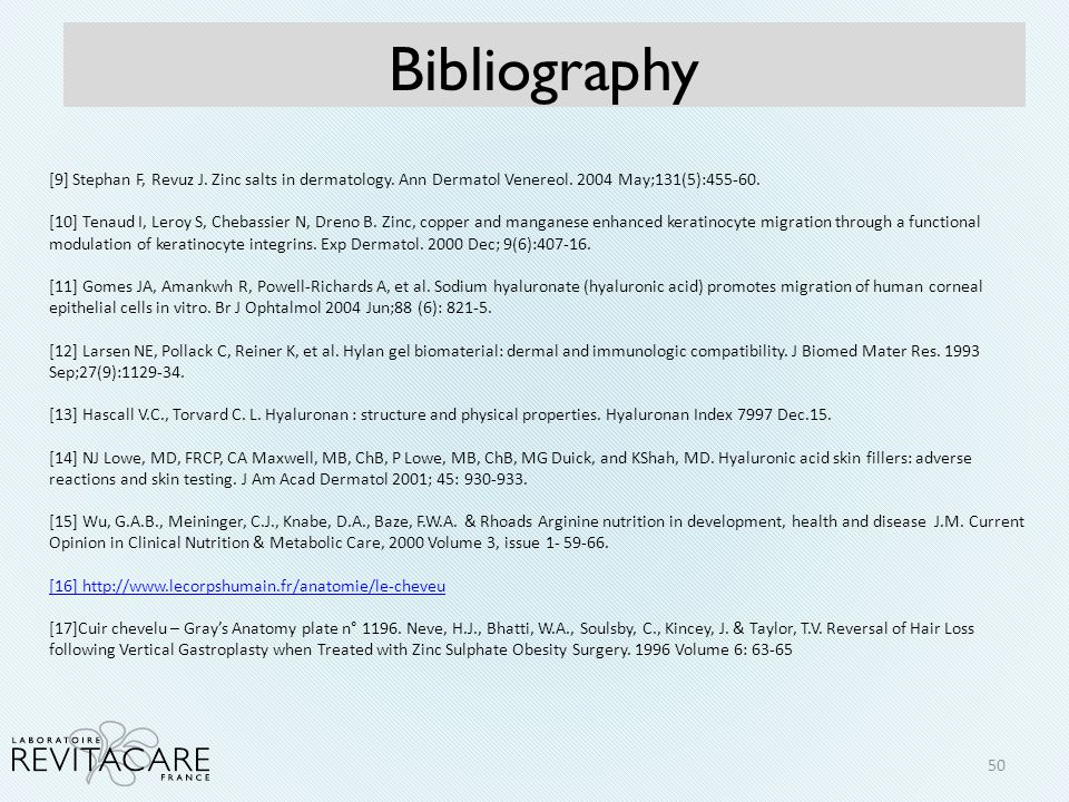 Bibliography [9] Stephan F, Revuz J. Zinc salts in dermatology. Ann Dermatol Venereol. 2004 May;131(5):455-60.
